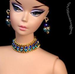 Rhinestonre doll jewelry necklace earrings for Barbie doll a