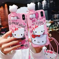 Set Cute 3D Hello kitty Doll Strap Holder Case Cover for iPh