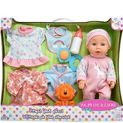 Newborn Baby Doll Set, 8 Piece Layette Playset Includes 4 Di