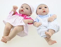 "Evursua 2 Pack Boy and Girl 11"" Lifelike Reborn Newborn Baby"
