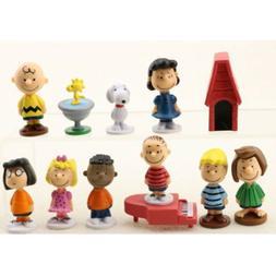 Set Of 12 Peanuts Charlie Brown Snoopy Figure Cake Topper Ki