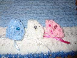Set of 3 Doll Bonnets-5 Inch Dolls