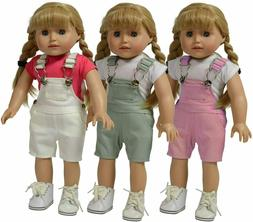 The New York Doll Collection Set of 3 Twill Overalls: Pink,