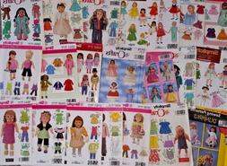 """SIMPLICITY SEWING PATTERNS FOR 18"""" DOLLS  ~ NEW / UNUSED, SO"""