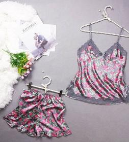 Sexy Silk Floral Laces Pajamas Set For Women Sleepwear Baby