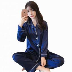 Silk Fabric women satin Pajamas set long sleeve sleepwear ni