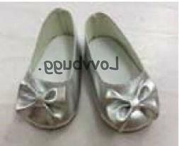 """Silver Bow Ballet Flats Slip Ons for American Girl 18"""" Bitty"""