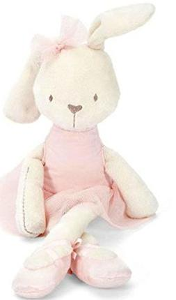 Soft Plush Ballerina Bunny Doll With a Pink Dress and Baller