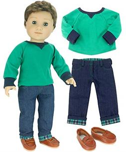 Sophia's 18 Inch Boy Doll Outfit Only 3 Pc. Green Shirt, Bro