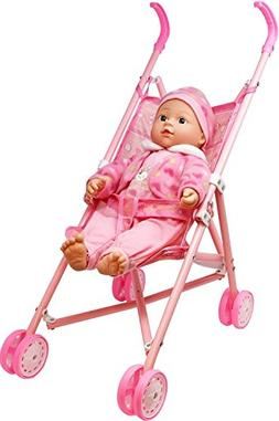 My First Baby Doll Stroller - Soft Body Talking Baby Doll In