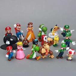 Super Mario Bros 18 pcs Action Figure Doll Playset Figurine