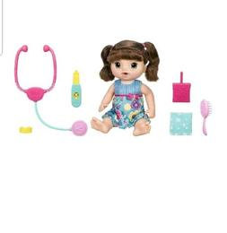 sweet tears interactive baby doll brunette check