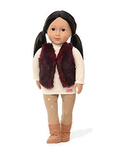 Our Generation Tamaya-Doll N with Red Fur Vest Toy, 18""