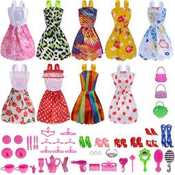 Total 50pcs -9 Pack Doll Clothes Party Gown Outfits +41pcs D