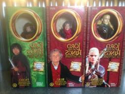 "Toy Biz LOTR Frodo, Legolas, Bilbo poseable 12"" Dolls Action"