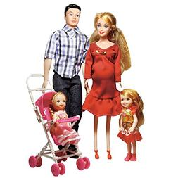 Toys Family of 5 People Dolls Suits with Real Pregnant 1 Mom
