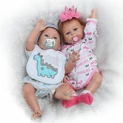 Twins Reborn Baby Dolls Realistic Newborn Doll Full Body Sil