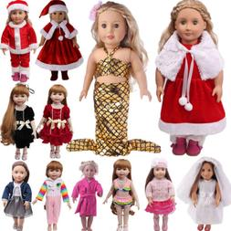 US Doll Clothes Dress Outfits Pajames For 18 inch Xmas Girl