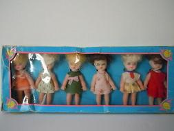 VINTAGE 1970'S SMALL HONG KONG DOLL SET OF 6 DOLLS IN THEIR