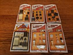 Vintage 70s 6 pkgs. Miniature tiny Doll House Accessories an