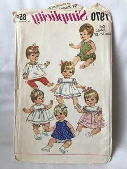 Vintage Simplicity Baby Doll Clothing Pattern Small Doll 12-