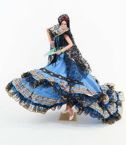 Vintage Large Marin Chiclana Spanish Flamenco Dancer Blue Dr
