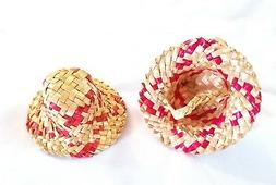 Vintage Small Doll Straw Hat Red  3 inches