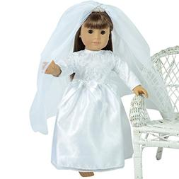 The New York Doll Collection Wedding Gown and Veil with Tiar