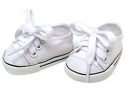 White Doll Sneakers fit American Girl Dolls, 18 Inch Doll Wh
