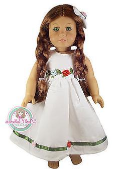 """DR WHITE DRESS W/ROSETTE for 18"""" American Girl Dolls Roses O"""