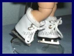 WHITE Faux Fur Trim ICE SKATES Doll SHOES fit GINNY Ginger M