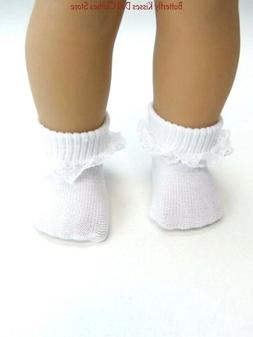 """White Lace Trim Socks 18""""  Doll Clothes Fits American Girl D"""