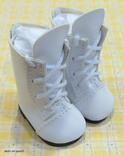 WHITE Lace-Up Tall DOLL BOOTS SHOES fits American Girl 14.5""