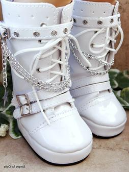 "WHITE Patent Tall Rocker DOLL BOOTS SHOES fits 18"" AMERICAN"