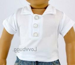 White Polo Shirt for 18 inch American Girl Boy Baby Doll Clo