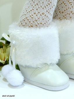 "WHITE w/ Fur Trim SNOW BOOTS Doll SHOES fits 18"" AMERICAN GI"