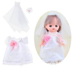 White Wedding Dress Clothes for Mellchan Baby Doll for 9-11i