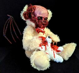 Winged Zombie Teddy Halloween Decoration Prop Gothic Horror