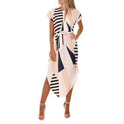 HTHJSCO Women Casual Short Sleeve V Neck Printed Asymmetric