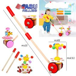 Wooden Baby Toddler Walk Single Rod Spiral Trolley Learning
