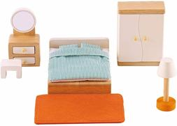 Hape Wooden Doll House Furniture Master Bedroom Set