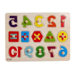 Wooden Number Letter Doll Puzzle Jigsaw Early Learning Educa
