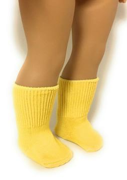 Yellow Knit Sport Socks made for 18 inch American Girl Dolls