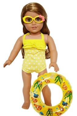 Yellow Swim Set with Accessories for American Girl Dolls 18