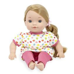 You & Me 12 Inch Satin Bow Toddler Doll - Blonde in Dark Pin